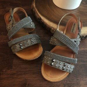 Not Rated Gray Rhinestone Sandals 6.5